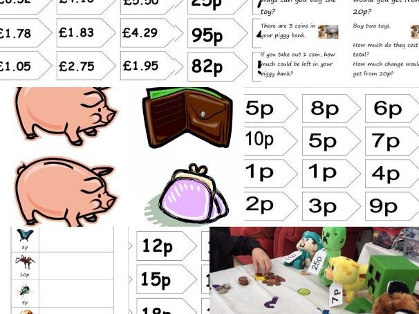 Money Resources Price tags piggy banks Minibeast shop challenge cards