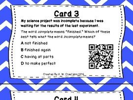 What's the Word Part? QR Code Task Cards Sets 1 and 2