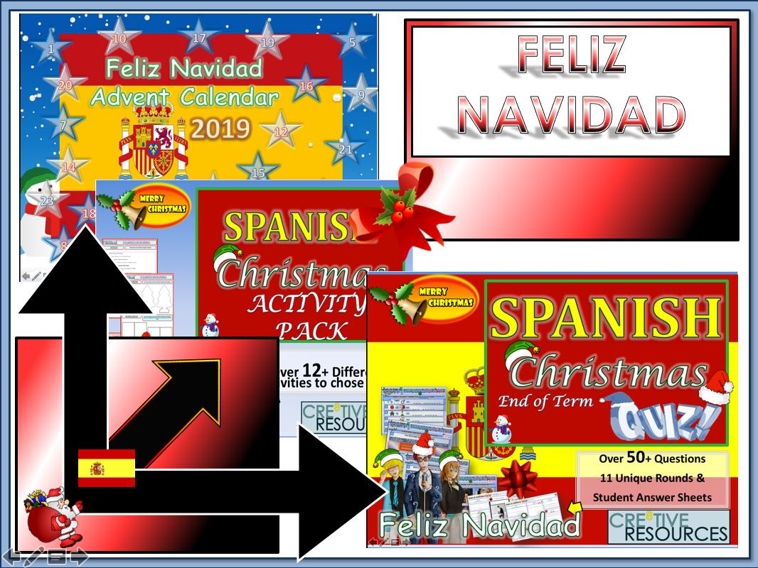 Spanish Christmas MFL Quiz Activities and WorkBook 2019
