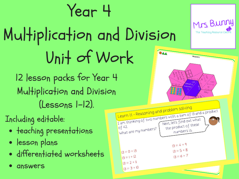 Year 4 Multiplication and Division Unit Pack