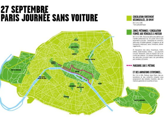 A Level oral exam photo stimulus card: environment car pollution Paris sans voiture