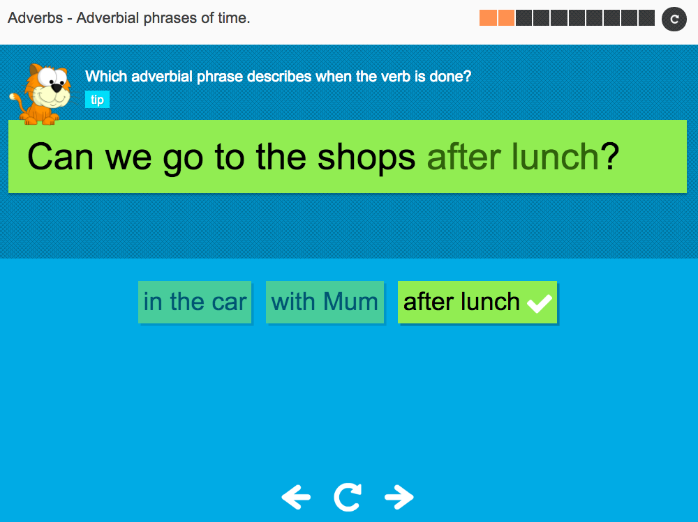 Adverbial phrases of time - Interactive Activity - KS3 Spag