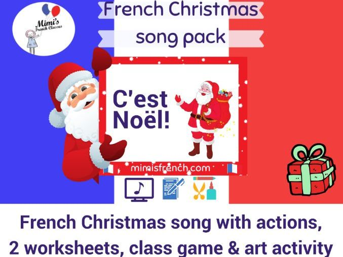 C'est Noël - song in French on video, craft, class game and worksheets
