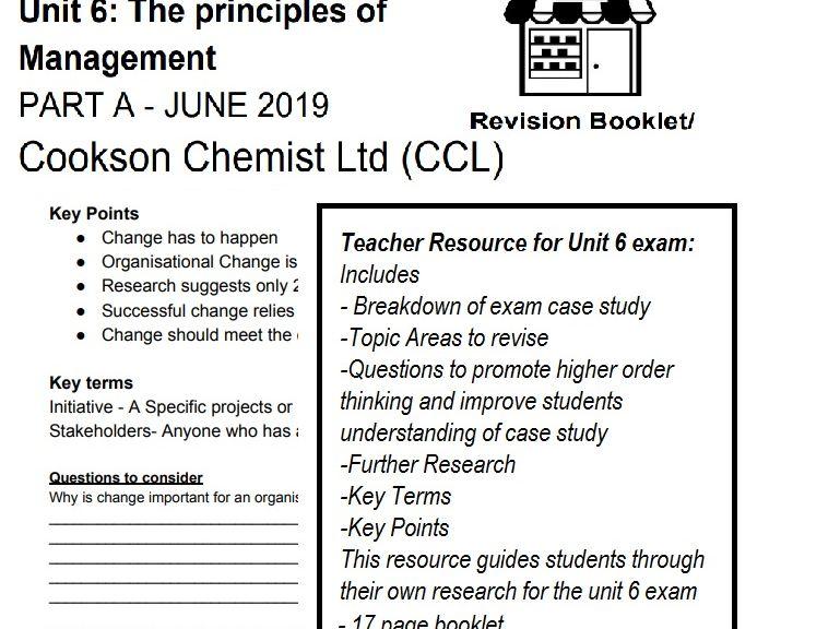Cookson Chemists Ltd UNIT 6 Principles of Management PART A EXAM REVISION BOOKLET/CASE STUDY GUIDE