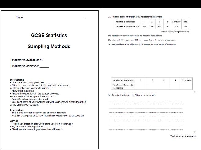Sampling Methods Exam Questions