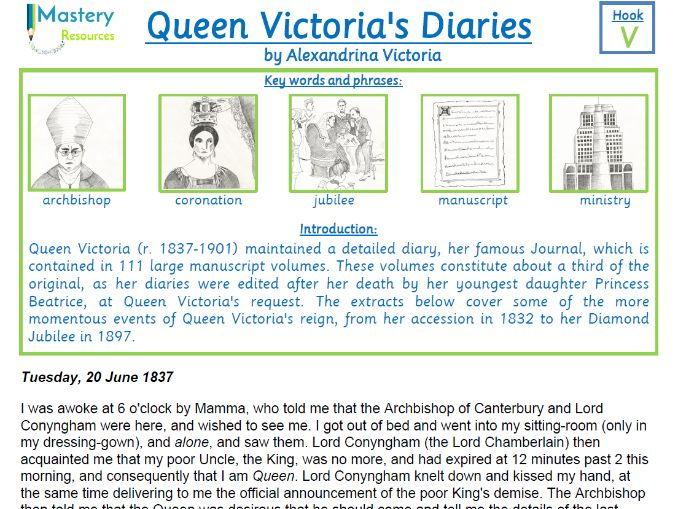 Queen Victoria's Diaries comprehension UPKS2