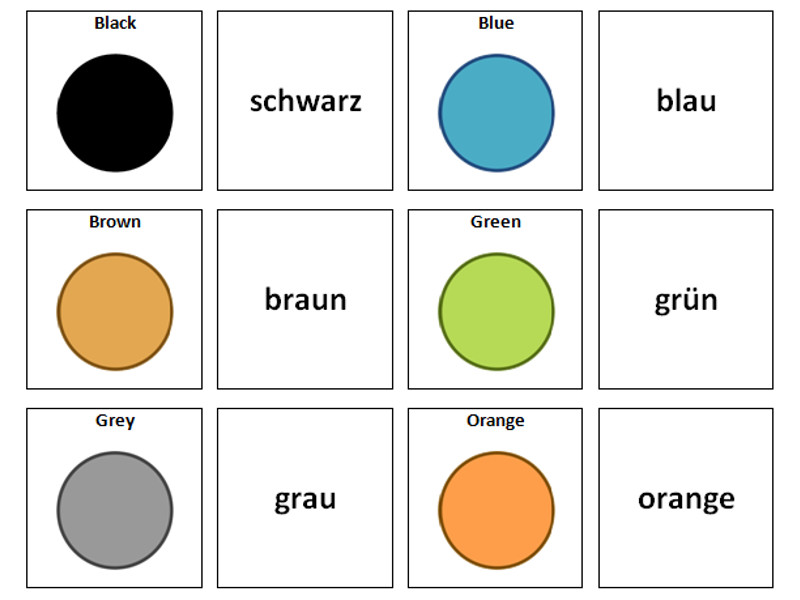 Colours: German Vocabulary Card Sort