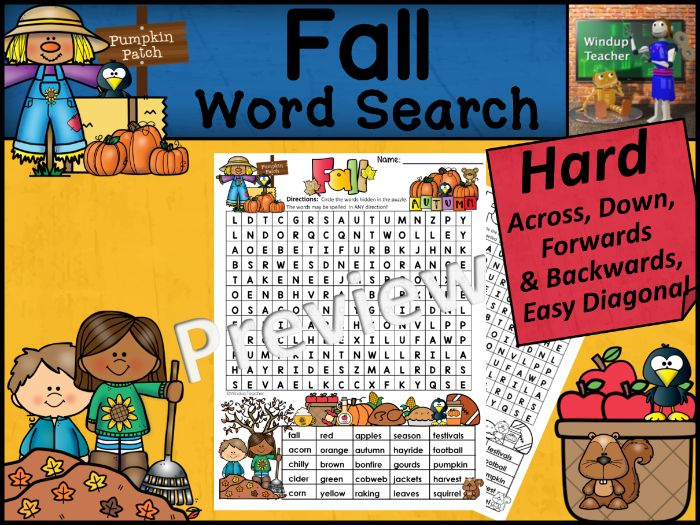 Fall Word Search  | HARD Puzzle | Ready to Go!