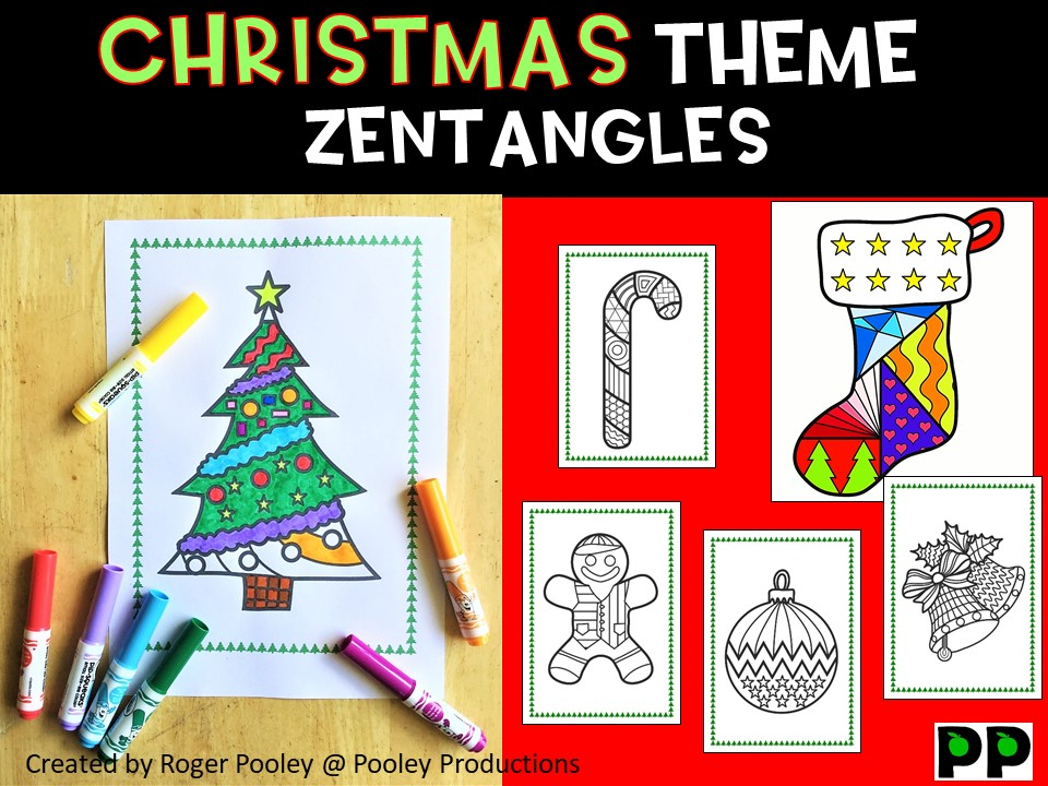 Christmas Zentangles, No Prep Colouring Pages