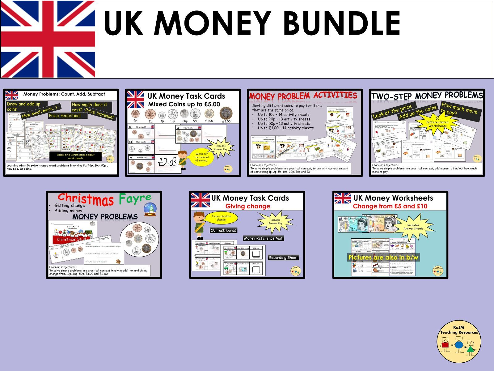 UK British Money Bundle Worksheets Task Cards