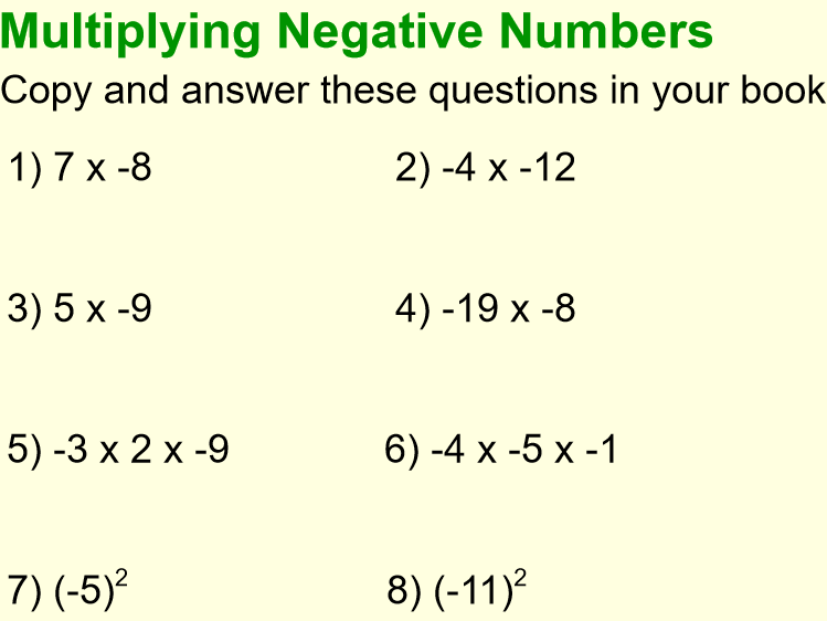 Multiplying & Dividing Negative Numbers