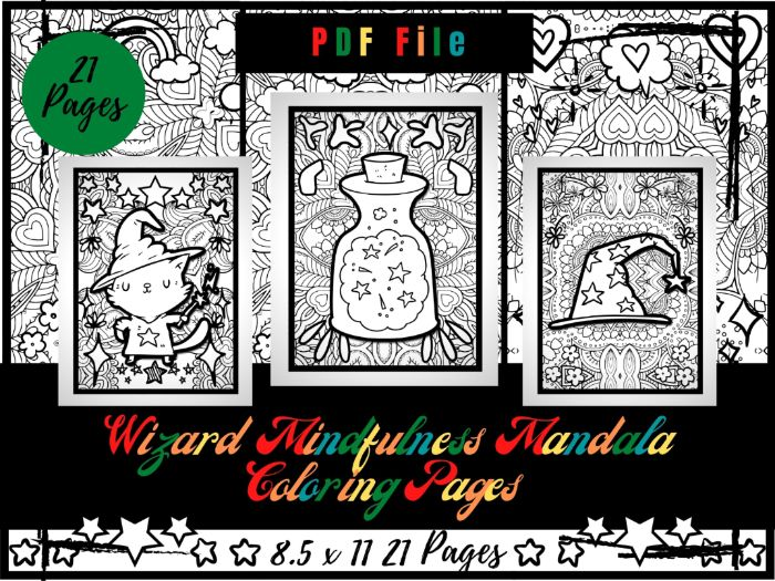 Wizard Mandala Colouring Pages For Kids, Hat And Magic Wand Printable PDF