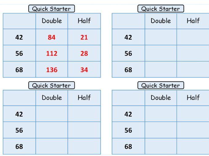 Quick starter Maths cards Pack 1