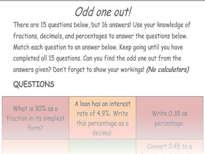 Fraction Decimal Percentage Odd One Out Worksheet