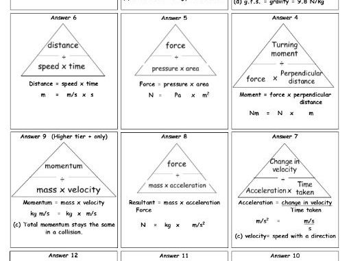 NEW GCSE (1-9) All physics equation triangles made into flashcards with units - revision