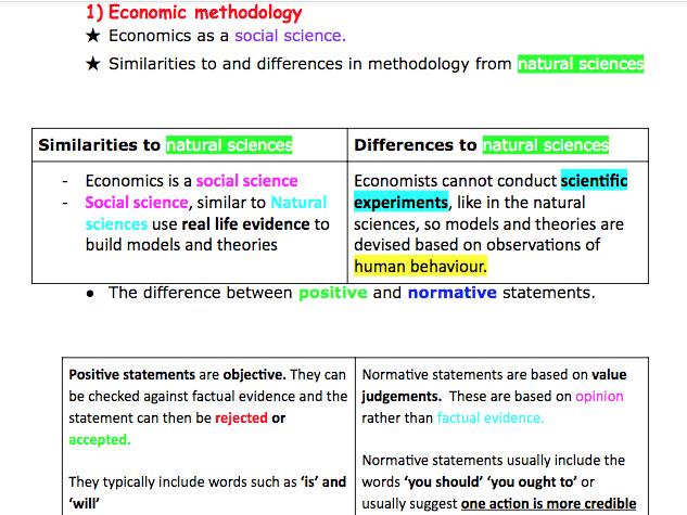 AQA A level Economics- Economic methodology and the economic problem