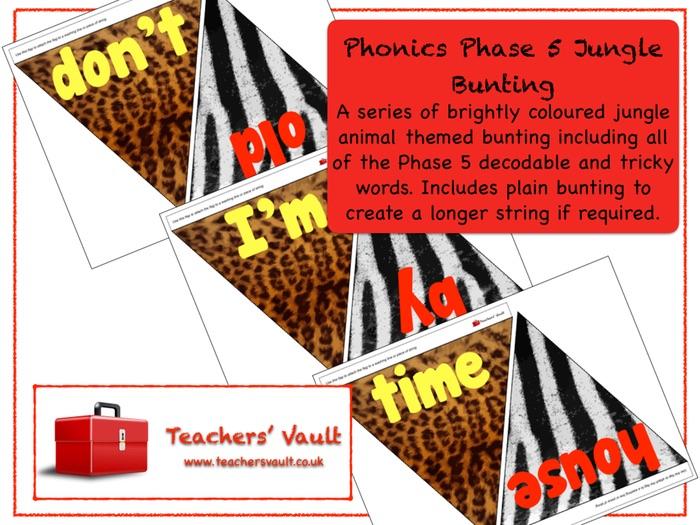 Phonics Phase 5 Jungle Bunting Display