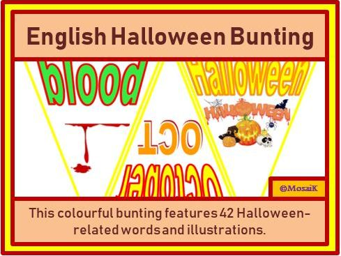 English, ESL, EAL: 42 Flags for Halloween Bunting