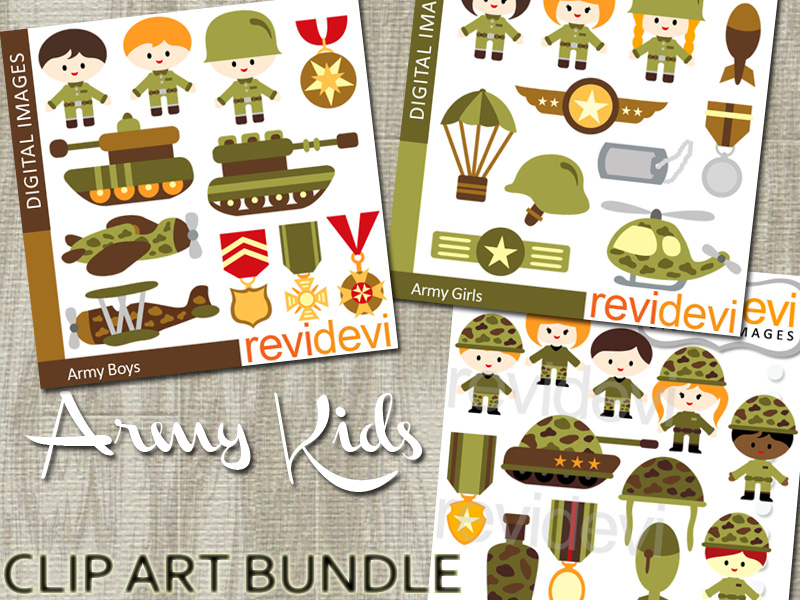 Bundle Clip Art Army Kids - boys and girls