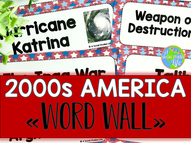 2000s America Word Wall without definitions