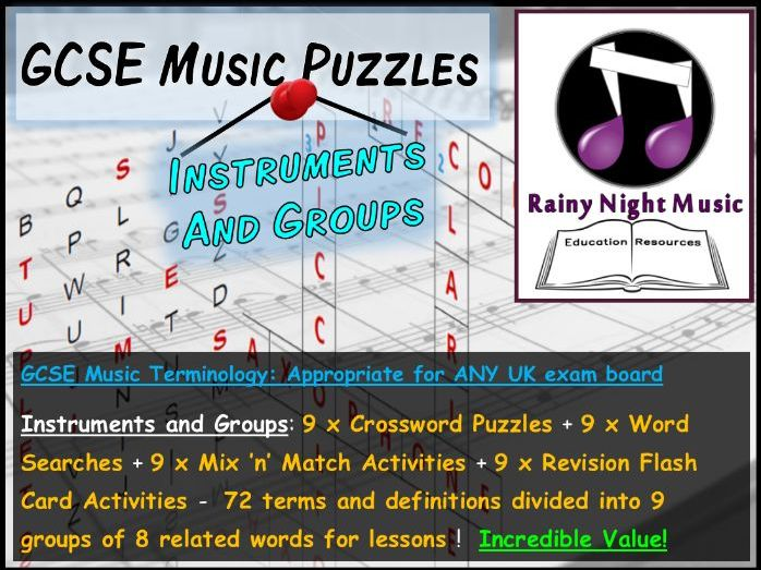 GCSE MUSIC TERMINOLOGY PUZZLES – INSTRUMENTS AND GROUPS – SUITED TO ALL UK GCSE MUSIC SPECS