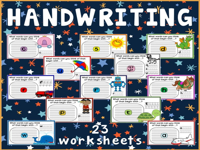 HANDWRITING WORKSHEETS TEACHING RESOURCES ENGLISH WRITING LETTERS - COLOUR