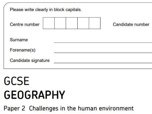 Mock GCSE Geography (8035) AQA - Paper 2