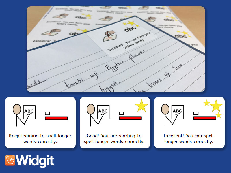 Spelling & Vocabulary - Marking Stickers with Widgit Symbols