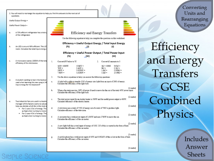 GCSE Physics Paper 1  - Efficiency Calculations Worksheet with Answers