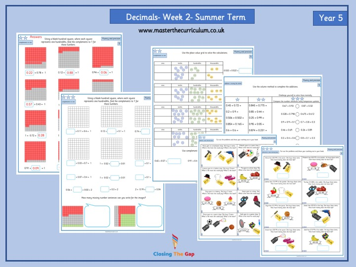White Rose - Year 5- Decimals- Differentiated Worksheets