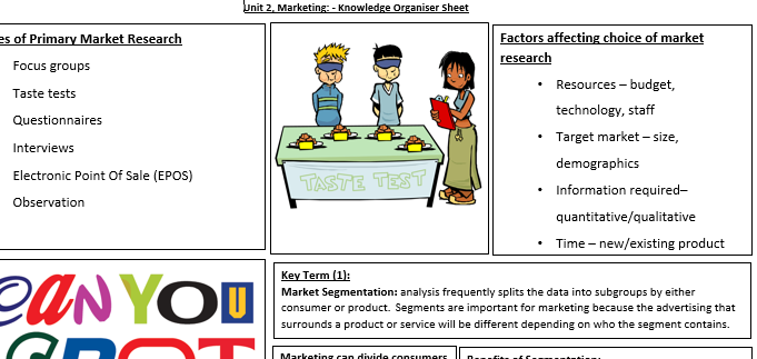 Unit 2: Marketing Revision Sheet - Research Methods, Segmentation, Marketing Mix