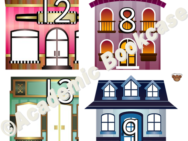 Numbers 0-20 on houses and shops