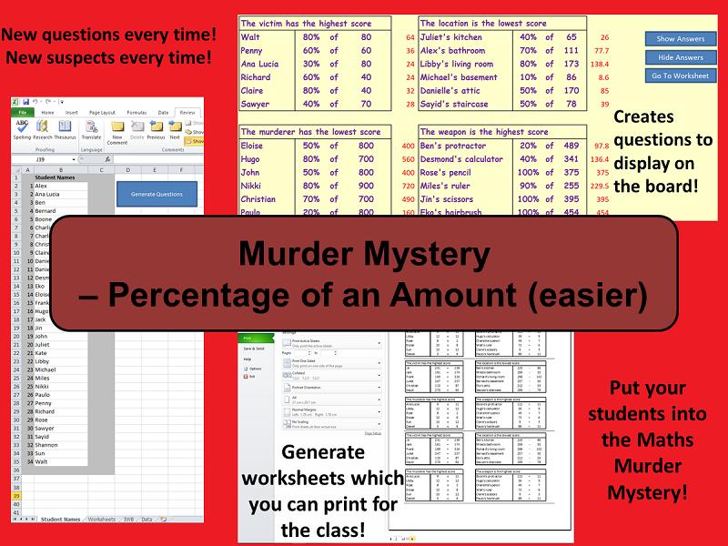 Custom Reusable Murder Mystery - Percentage of an Amount (Easier)