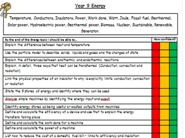 KS3 Energy Revision Checklist