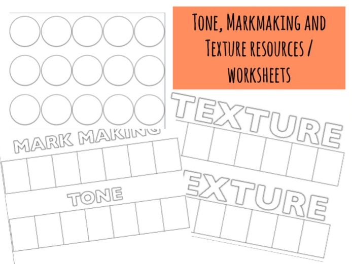 Tone, Texture and Markmaking worksheets / Formal Elements
