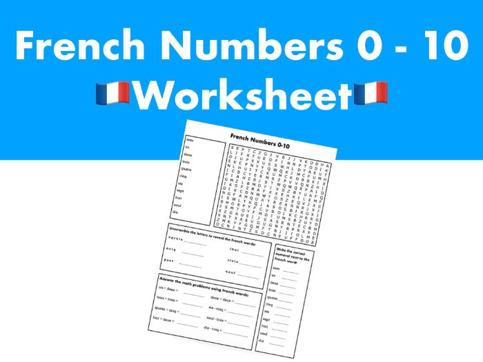 French Numbers 0-10 Worksheet