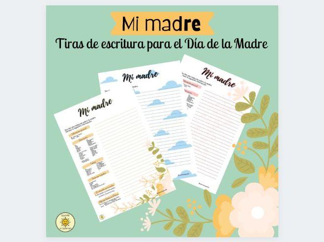 Día de la Madre: tiras de escritura. Mother's Day: Writing strips. Spanish