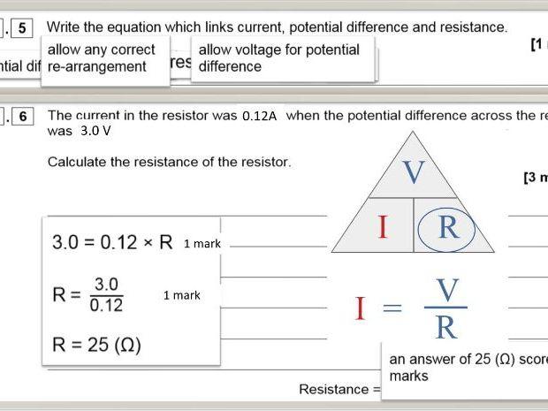 Mock exam feedback lesson AQA 8464 Physics 1 F 2019 exam paper and integrated mark scheme