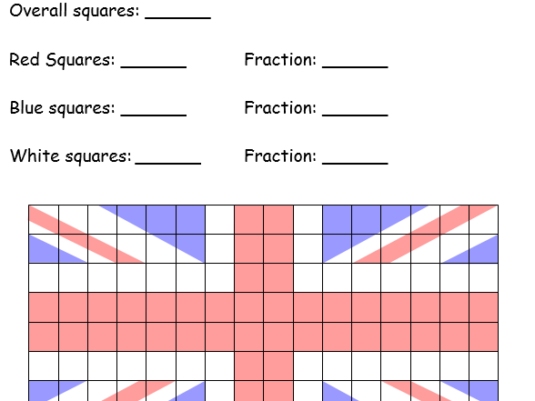 Flags Shading Fractions Worksheet By Ravenhead Teaching