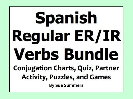 Spanish ER/IR Verbs Bundle - Games, Quiz, Puzzles, Vocabulary, and Conjugation Charts