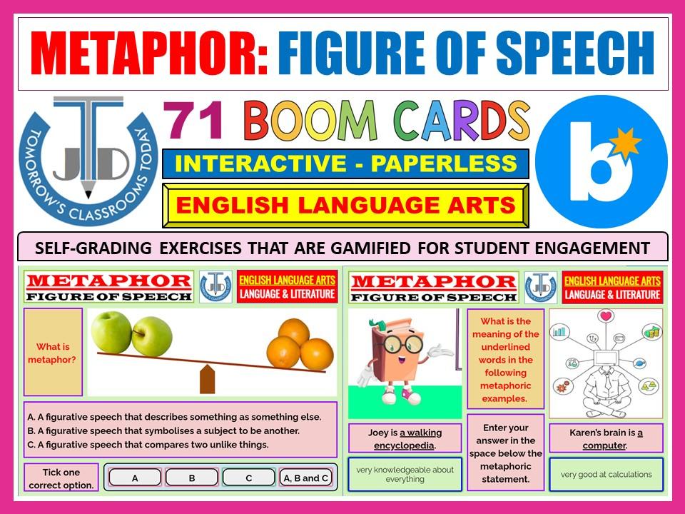 METAPHOR - FIGURATIVE LANGUAGE: 71 BOOM CARDS