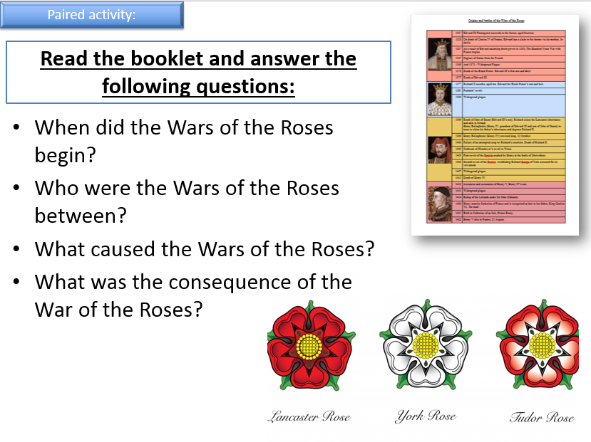Intro the AQA 1C The Tudors, Wars of the Roses contextual knowledge and family tree