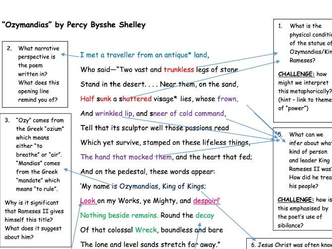 "GCSE Poetry Anthology: ""Ozymandias"" Analysis Task"