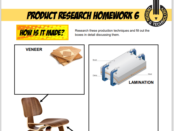 D&T Product Research Homeworks / Worksheets for Ks3 or Ks4. (Works with all exam boards)