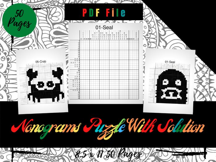50 Nonograms Japanese Puzzles Puzzle With Solution, Griddlers Logic Printable Puzzles