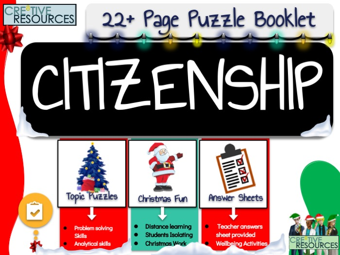 Christmas Citizenship Puzzle Work Book