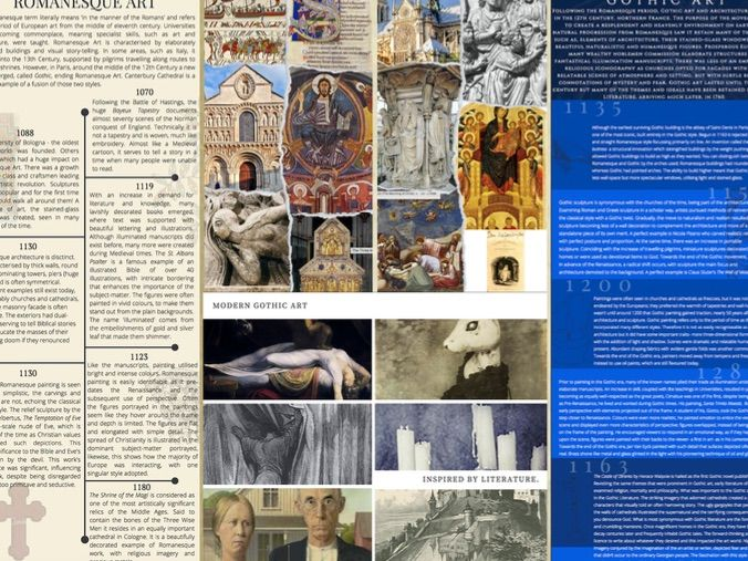 Romanesque and Gothic Art (and literature) knowledge organiser