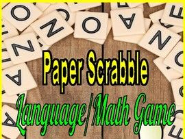 Paper Scrabble Language/Math Game