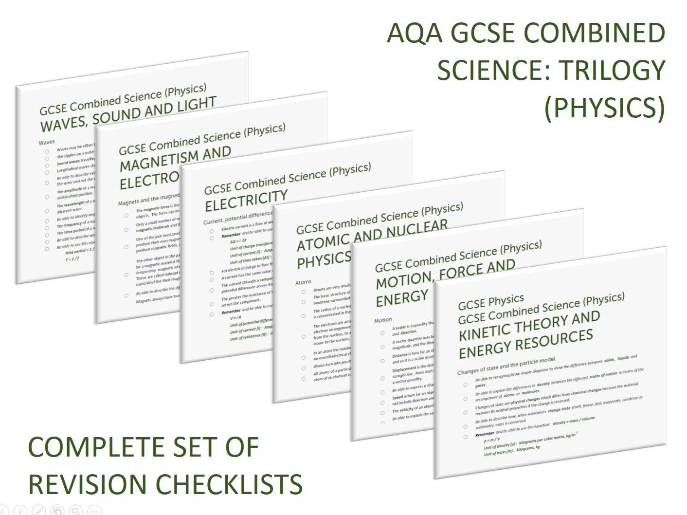 Complete set of Physics revision checklists for GCSE Combined Science (Trilogy)