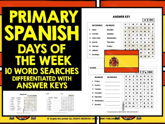PRIMARY SPANISH DAYS OF THE WEEK WORD SEARCHES